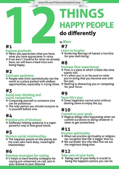 12things happy people do differently