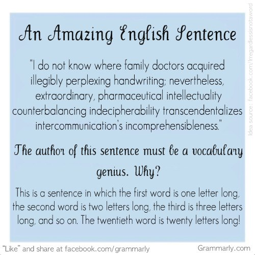 An amazing English sentence